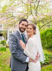 Wedding couple portrait in the garden at the Copper Beech Inn