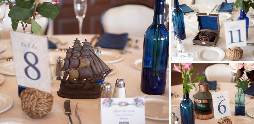 Nautical table centerpieces at a Saybrook Point Inn wedding | CT wedding photography