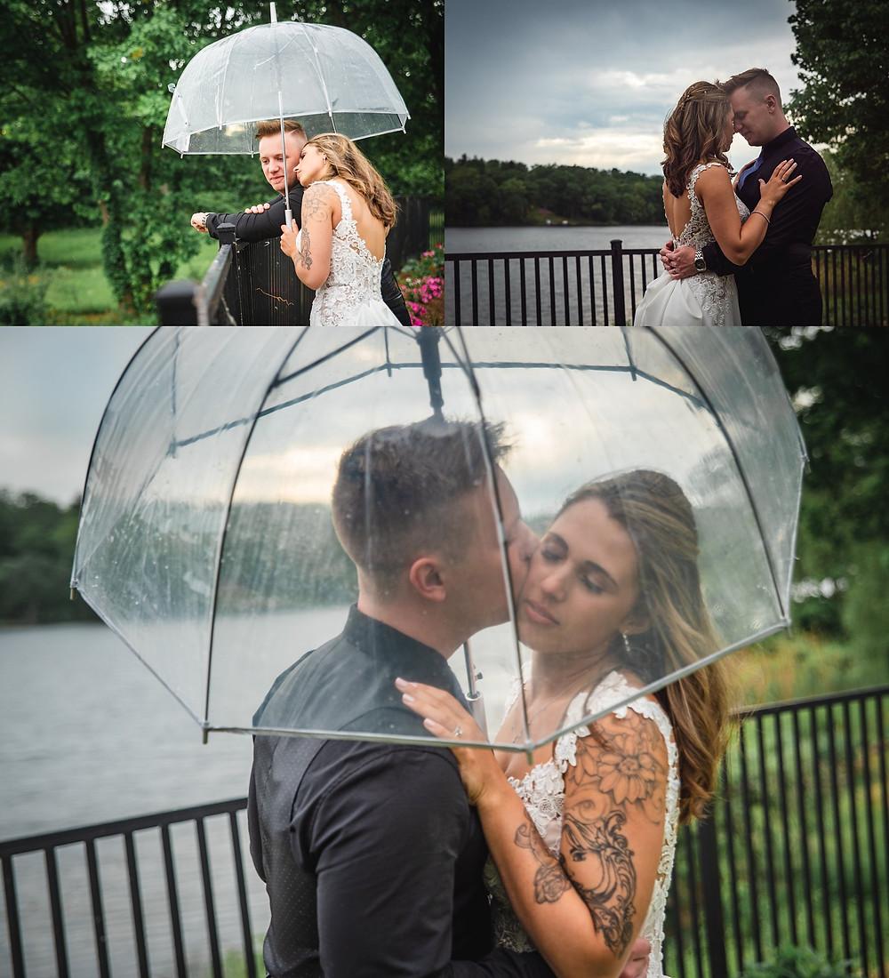 Rainy Wedding Portraits at Anthony's Lake Club in Danbury CT