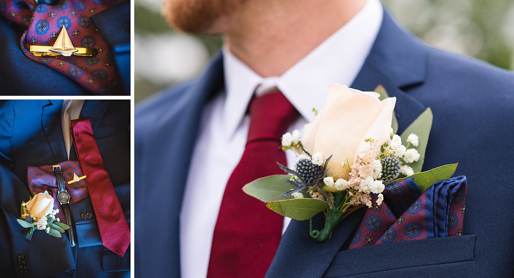 Groom's details and boutonniere close-up | CT wedding photography