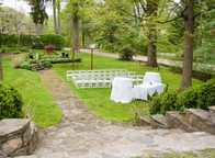 garden wedding ceremony site at the Copper Beech Inn, one of the best wedding venues in Connecticut