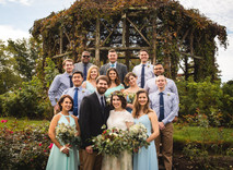 Wedding Party portrait in front of the gazebo at Elizabeth Park in Connecticut