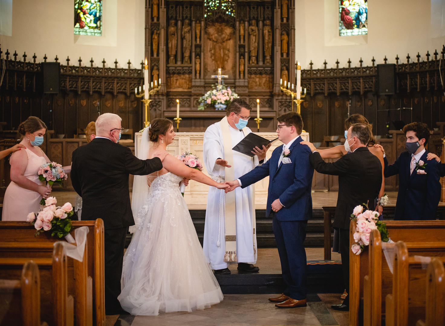 wedding ceremony in a church during covid-19 pandemic