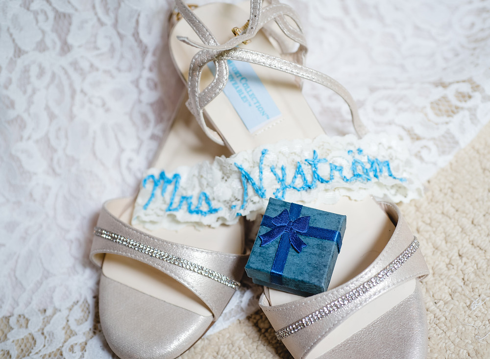 wedding shoes with garter and earring box | Connecticut wedding photographer