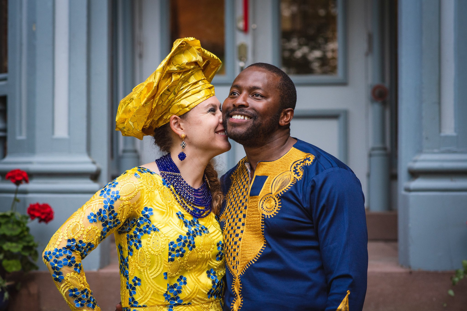 inerracial wedding couple in traditional African clothes - CT wedding photos