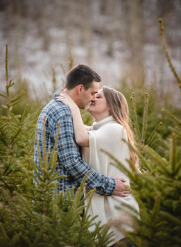 couple kissing among christmas trees for their engagement photography session