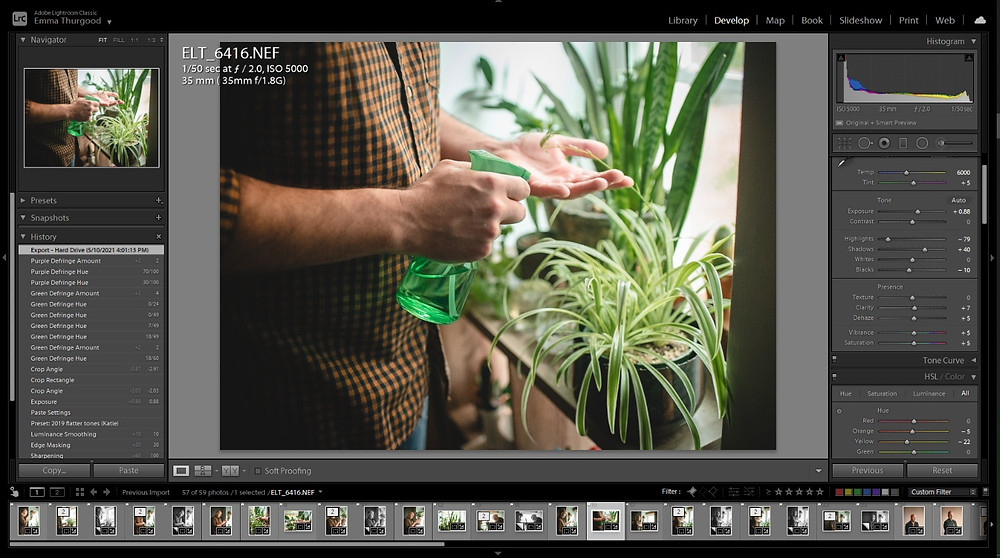 screenshot of how to edit photos with lightroom