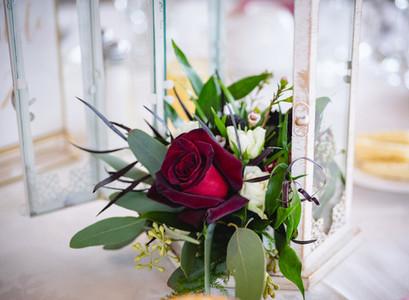 burgundy rose wedding centerpiece