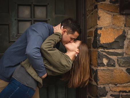 Roni & Nate's Romantic & Rainy Adventure Hike Engagement Photos | Heublein Tower, Avon CT
