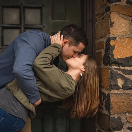 Roni & Nate's Romantic & Rainy Adventure Hike Engagement Photos   Heublein Tower, Avon CT