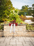 wedding ceremony site at the Pond House Cafe in West Hartford, Connecticut