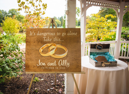 Wedding announcement sign at Pond House Cafe wedding