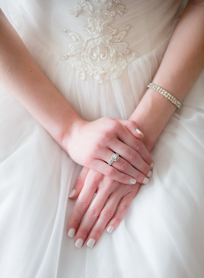 Bride's hands resting in her lap - CT wedding photography