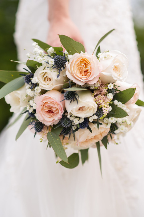 bridal bouquet with roses and blue thistles - ct wedding photography