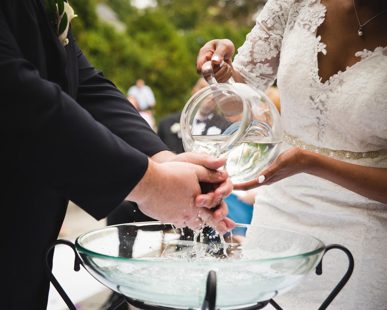 wedding hand washing ceremony - ct wedding photographers