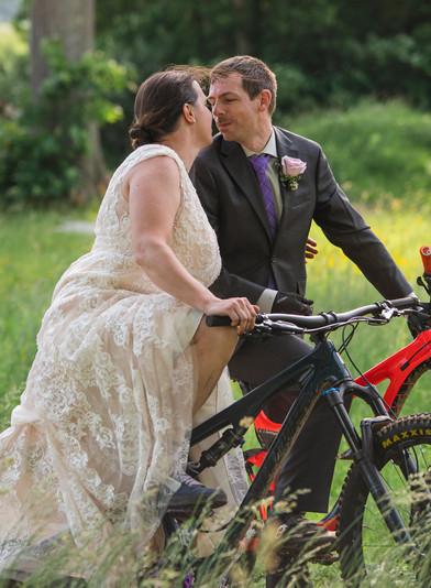 adventure elopement photography in CT - couple mountain biking