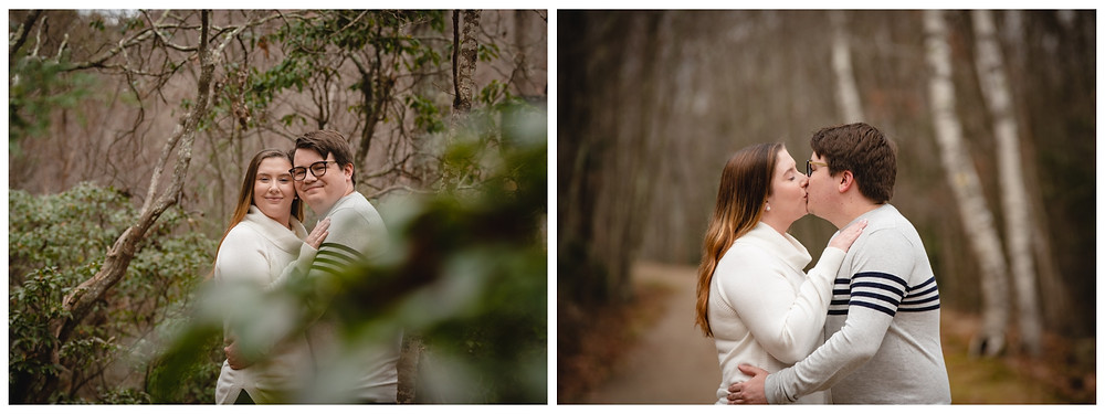 couple posing and kissing for their engagement portraits at Valley Falls in Vernon CT