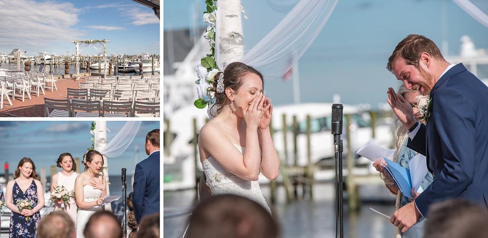 Saybrook Point Inn Wedding ceremony at the marina
