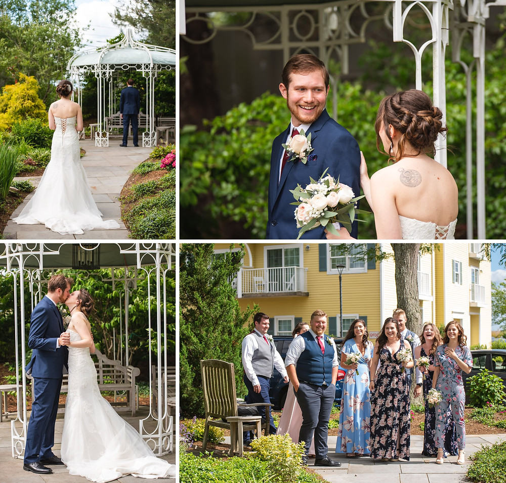 bride and groom's First Look in the garden at Saybrook Point Inn   CT Wedding Photography