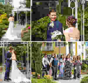 bride and groom's First Look in the garden at Saybrook Point Inn | CT Wedding Photography