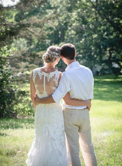 new england backyard elopement - couple hugging