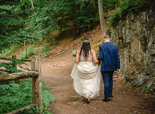 Couple eloping in New England woods