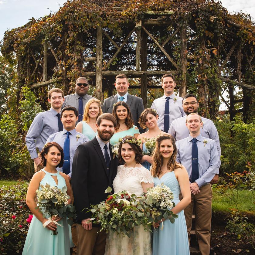Wedding party photo at the gazebo at Elizabeth Park in Hartford CT