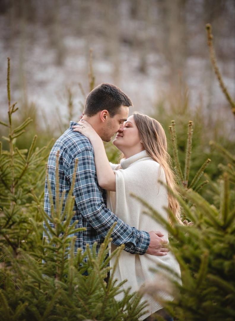 couple kissing among Christmas trees at a CT tree farm