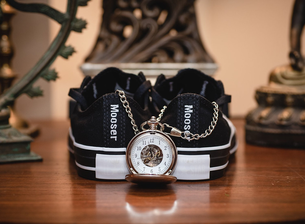 pocket watch and custom converse wedding sneakers