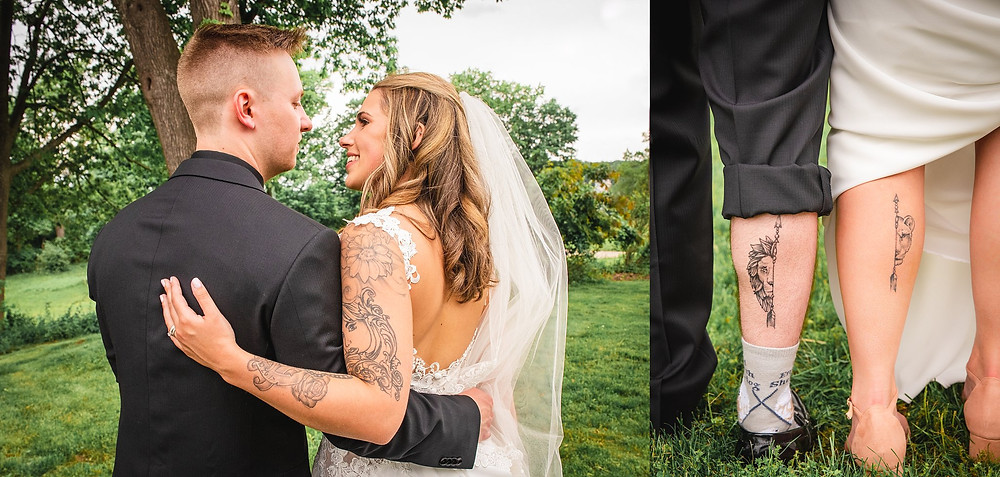 Fun couple with matching tattoos posing for portraits on their wedding day in Connecticut