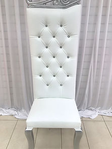 SILVER WHITE WEDDING THRONE CHAIR HIRE