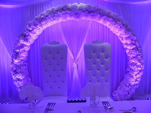 GIANT WEDDING HALO FLORAL ARCH HIRE