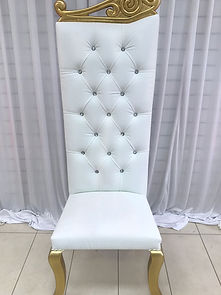 GOLD WHITE WEDDING THRONE CHAIR HIRE