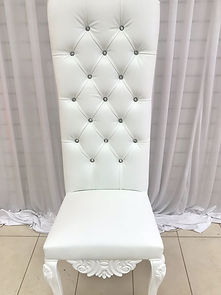 WHITE DIAMONTE WEDDING THRONE CHAIR HIRE