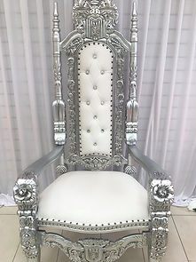 SILVER KING QUEEN WEDDING THRONE