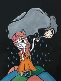 Lluevo sobre pueblo despidiéndome de ti