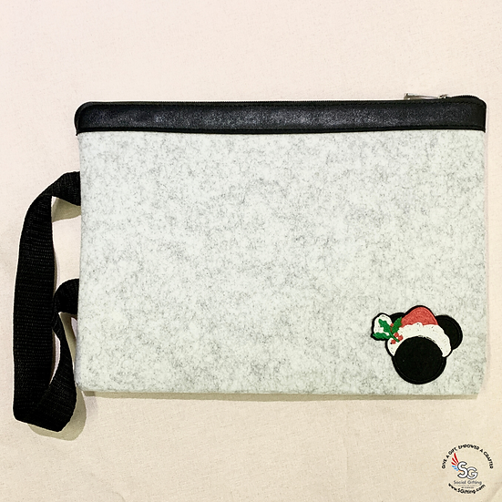 PU Leather And Felt A4 Document Zip Folder With Iron-On Patch