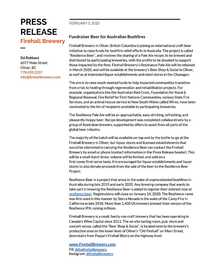 Press Release - Fundraiser Beer for Aust