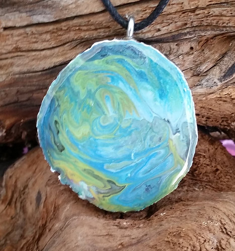 Painted Wood Pendant