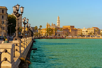 Panoramic view of Bari seafront in the b