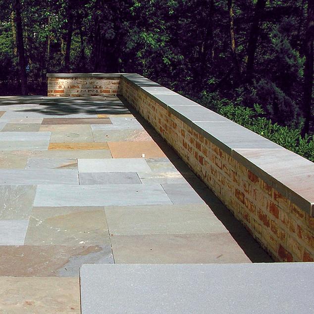 Brick Seat Walls Full Range Natural Cleft Bluestone Patio Patio and Coping