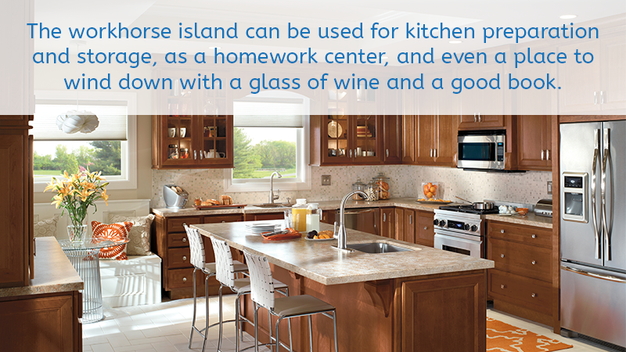 The Workhorse Island Can Be Used For Kitchen Preparation And Storage As A Homework Center