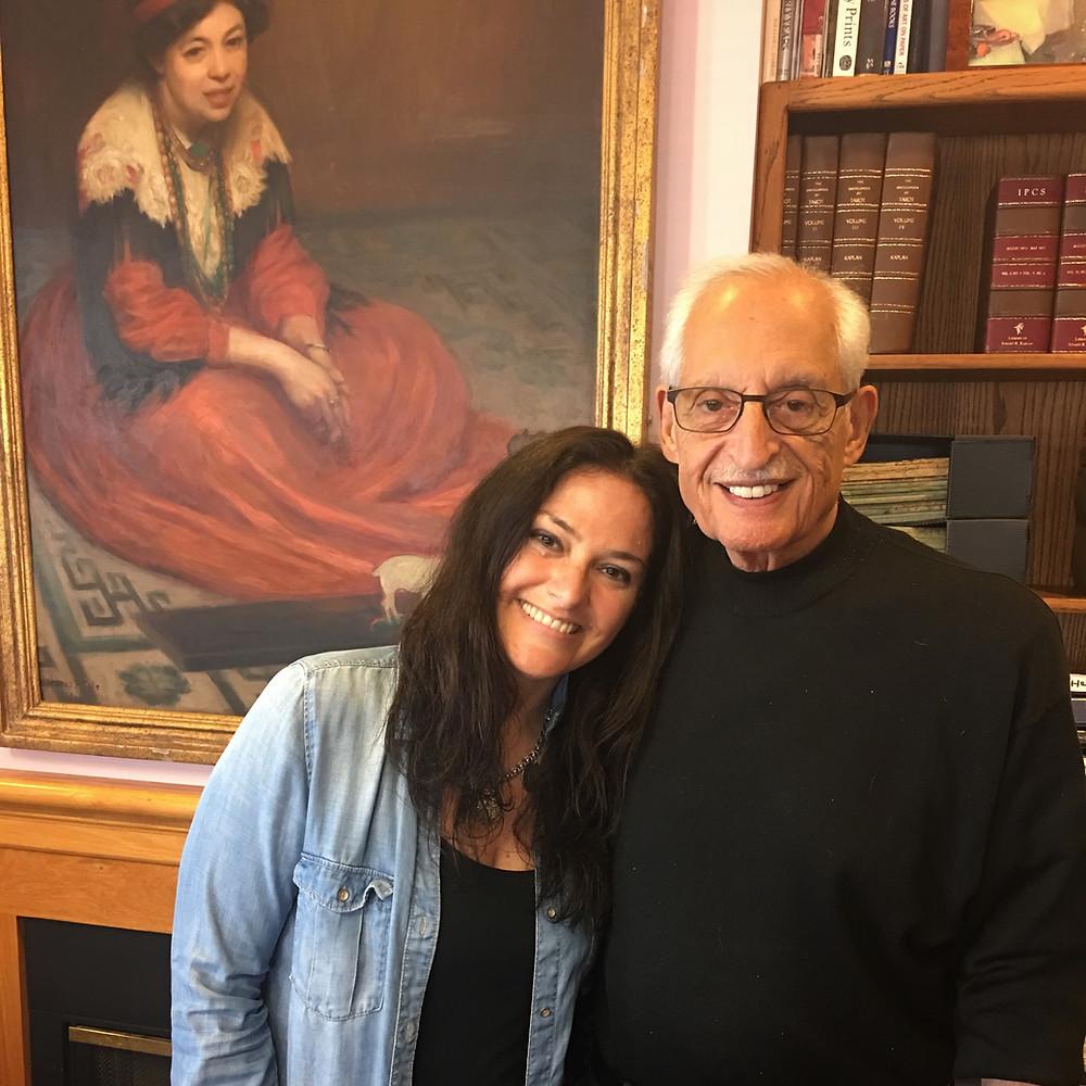 Stuart Kaplan and me under portrait of Pamela Colman Smith