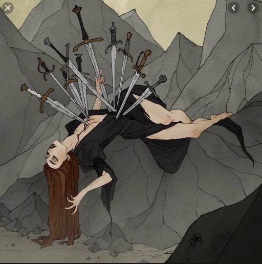 10 Swords plunge into the body to demonstrate the death of the ego and end of a thought cycle.