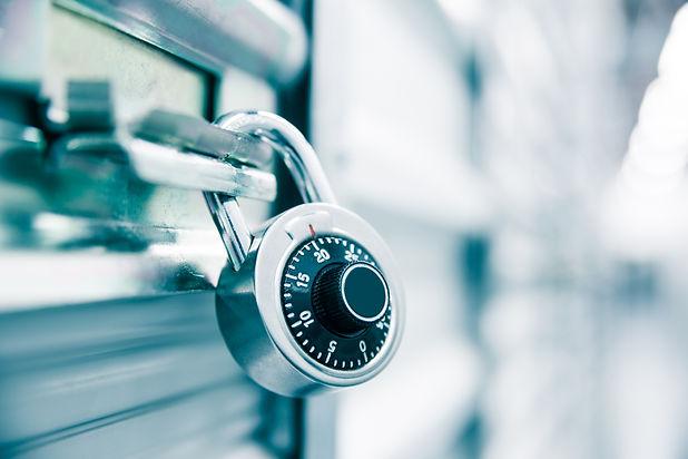 Combination lock on a self storage door.