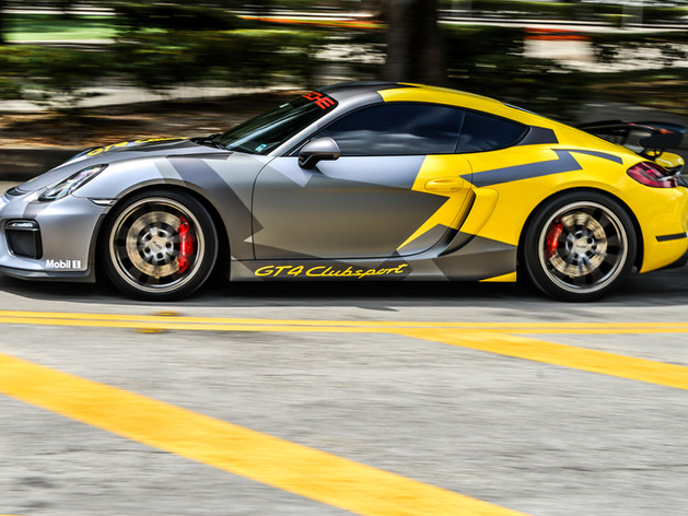 Custom car wrap Miami Porsche GT4 Clubsport Livery Miami