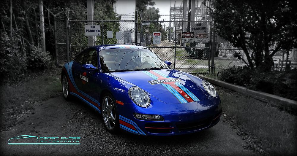 Porsche 911 Carrera 4S car wrap Martini Racing Stripes Porsche by First Class Autosports