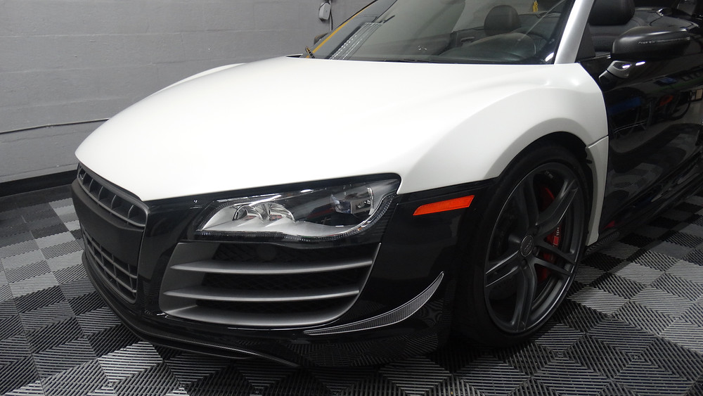 Audi R8 pearl white wrap miami