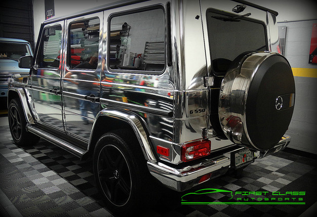 Mercedes Benz G Class Wrapped In Avery Silver Chrome At FCA