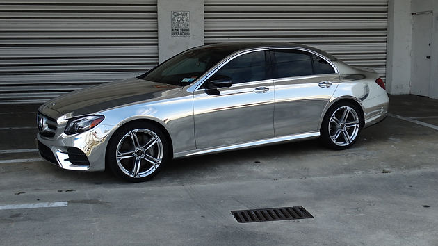 Vinyl Chrome Wrap Mercedes Benz E-Class With Paint